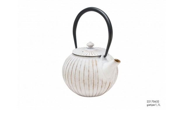 734Заварочный чайник с ситечком, белый с патиной