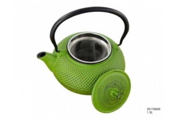 Чайник чугунный заварочный зеленый