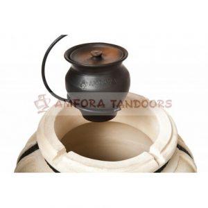 Слайд #1 | Чугунок 2 л керамический с крышкой для пост-томления в остывающем тандыре с эффектом «Русской печи»
