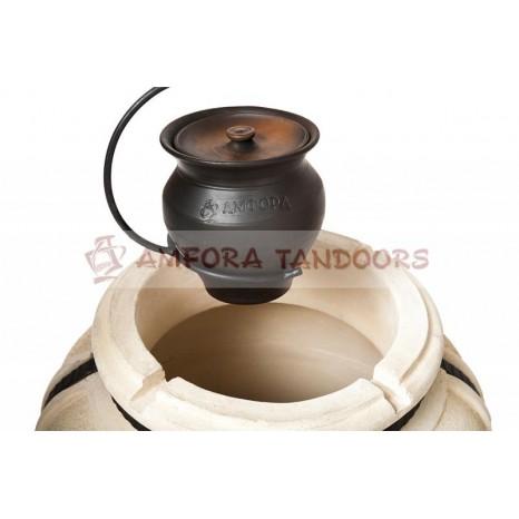 6894Чугунок 2 л керамический с крышкой для пост-томления в остывающем тандыре с эффектом «Русской печи»